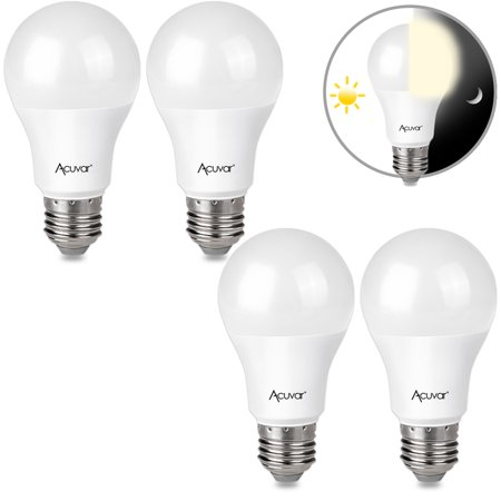 4 Acuvar 9W E26 LED Dusk to Dawn Light Bulbs with Auto On and Off Function for Home, Camping, Outside