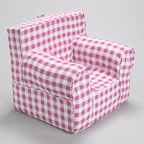 CUB CHAIRS Comfy Regular Pink Gingham Kid's Chair with Machine Washable Removable Cover