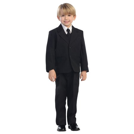Avery Hill 5-Piece Boy's 2-Button Dress Suit Set - Black, Charcoal, Navy, Brown
