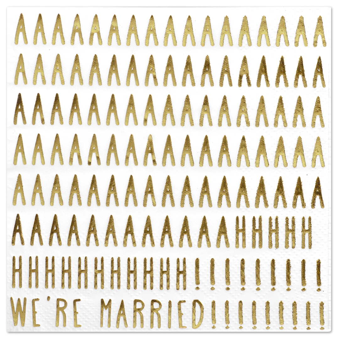 Koyal Wholesale We're Married Funny Quotes Cocktail Napkins, Gold Foil, Bulk 50 Pack Count 3 Ply Napkins
