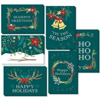 48-Pack Merry Christmas Greeting Cards Bulk Box Set - Holiday Xmas Greeting Cards with 6 Winter Holiday Designs, Envelopes Included, 4 x 6 Inches