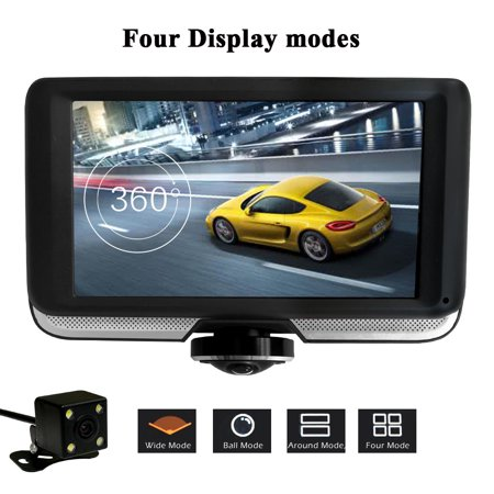 Podofo 360 Degree Panoramic Car DVR Camera Dual Lens with Rear View Cameras Full HD Video Recorder Car Camcorder Fisheye Lens Night Vision Dash Cam Blackbox Dvrs