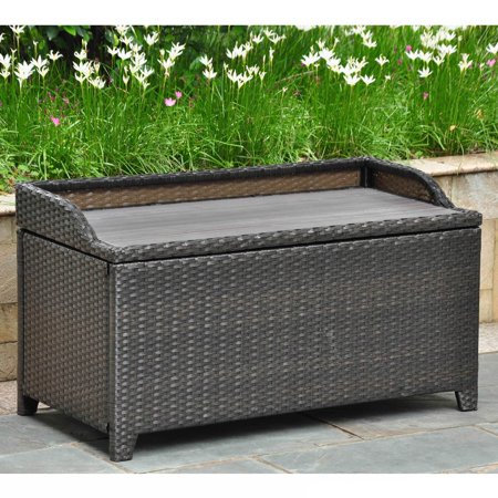International Caravan Barcelona Resin Wicker Aluminum Outdoor Storage Bench Antique Black