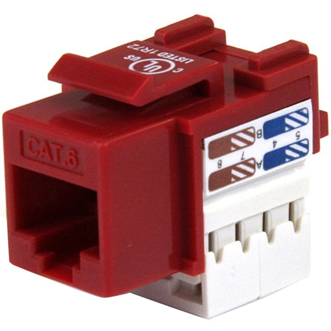 StarTech 110 Punch Type Category 6 Keystone Jack Red C6KEY110RD