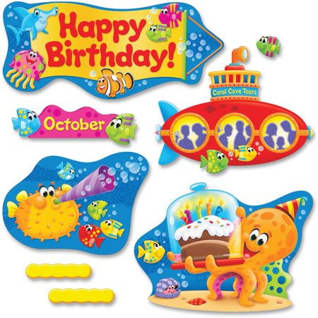 Trend Sea Buddies Collection Birthday Bulletin Board Set, 55 / Pack (Quantity)
