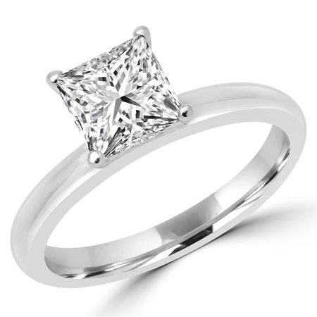 Majesty Diamonds MD170438-4.75 1.5 CT Princess Diamond Solitaire Engagement Ring in 14K White Gold - Size 4.75 - image 1 de 1