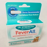 2 Pack Feverall Acetaminophen Suppositories JR Strength 325mg 6 Count Each