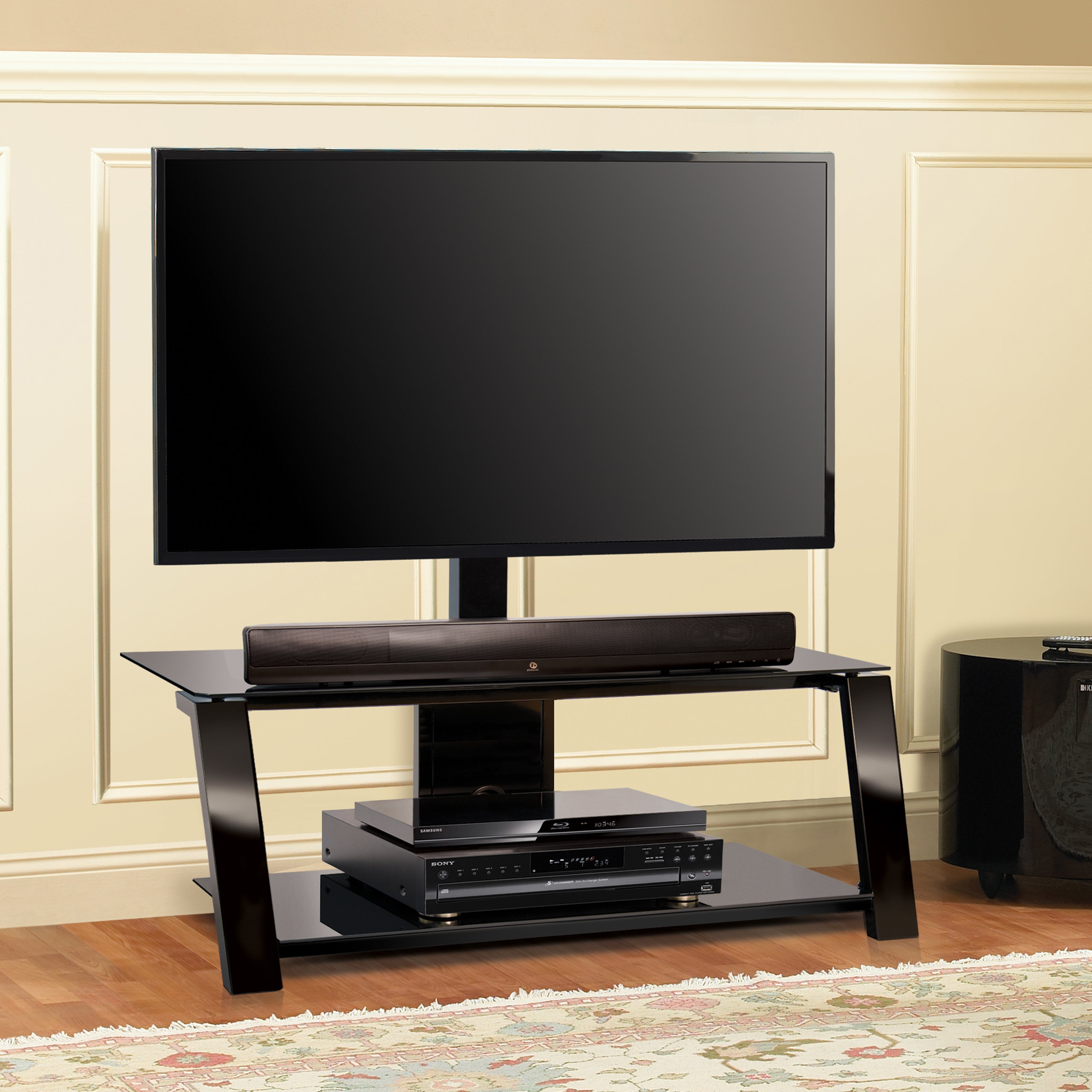 BellO Triple Play 44 in. Universal Flat Panel TV Stand Black by Bello