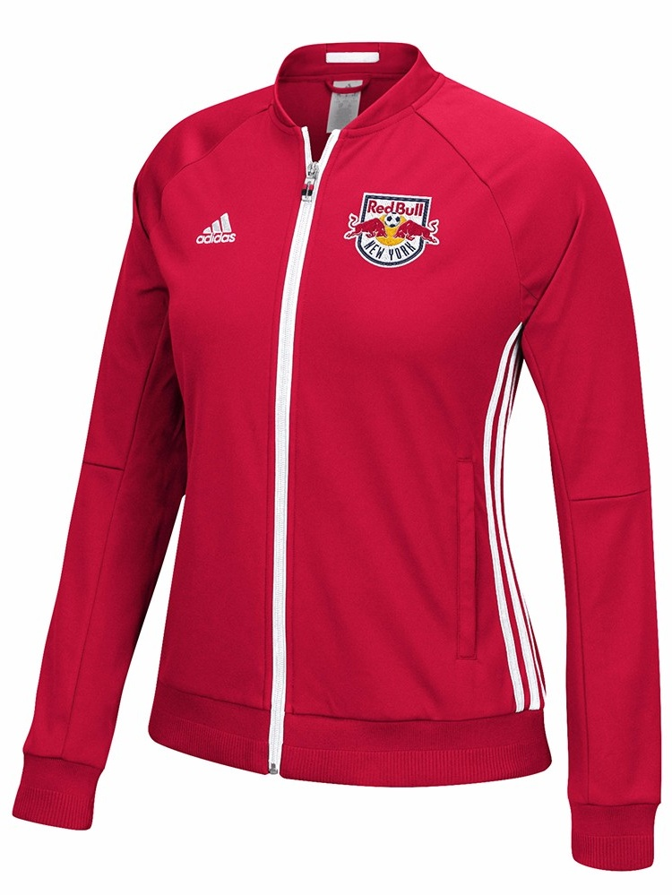 New York Red Bulls MLS Adidas Red Anthem Full Zip Track Jacket For Women by Adidas