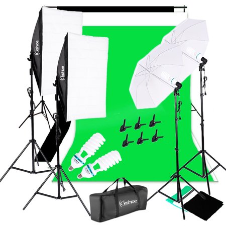Ktaxon Photography Studio Lighting Kit with Photo Background Muslin ,Umbrella Reflector, Softbox, Light Bulbs and Photo Studio Bundle