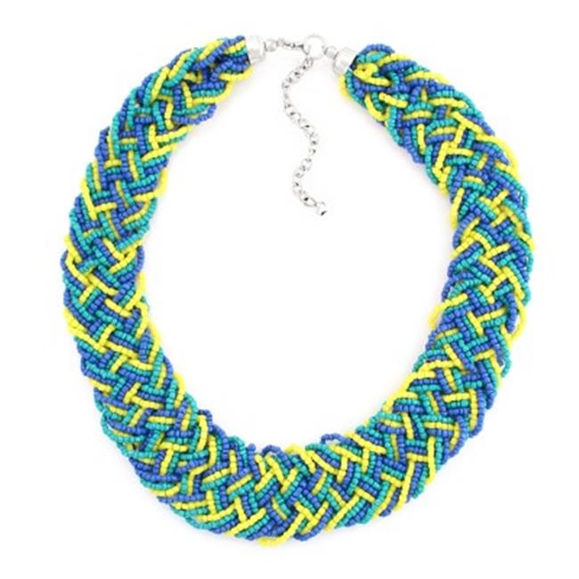 C Jewelry Silver-Tone Turquoise Blue And Yellow Bead Necklace
