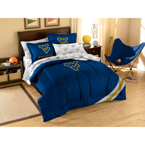 NCAA Applique Bedding Comforter Set with Sheets, University of West Virginia