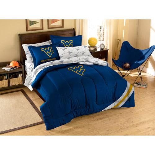 NCAA Applique Bedding Comforter Set with Sheets, University of West Virginia