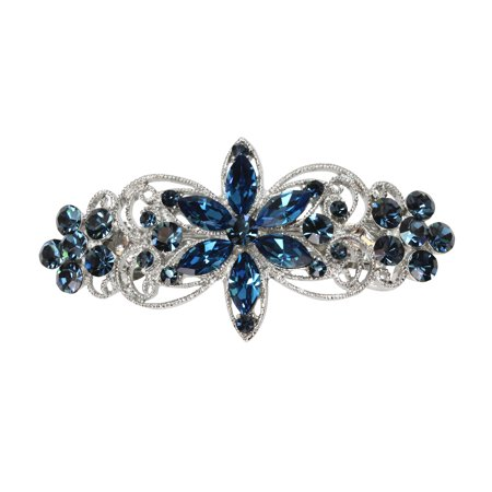 Faship Gorgeous Navy Blue Rhinestone Crystal Flora Hair Barrette Clip - Navy Blue Sadie Green Crystal Clip