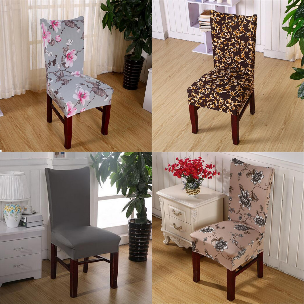 Hot Chair Covers Soft Spandex Fit Stretch Short Dining Room Chair Covers with Printed Pattern, Banquet Chair Seat Protector Slipcover for Hone Party Hotel Wedding Ceremony