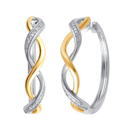 Luxurious 0.02 Cttw Natural Diamond Accent Two Tone Twisted Hoop Earrings In 14K White Gold Plated