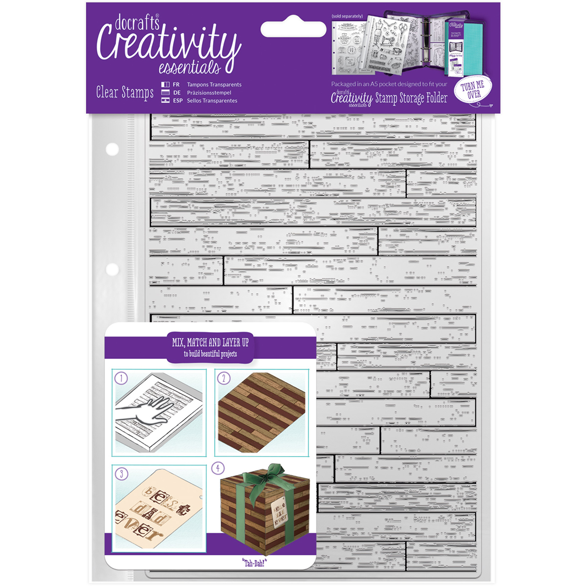 Creativity Essentials A5 Clear Stamps, Wooden Board Background