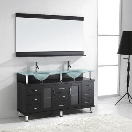 Virtu Usa Vincente Rocco 59 Inch Double Sink Bathroom Vanity Set