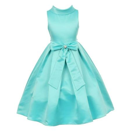 Little Girls Aqua Bridal Dull Satin Bow Rhinestone Flower Christmas Dress 2
