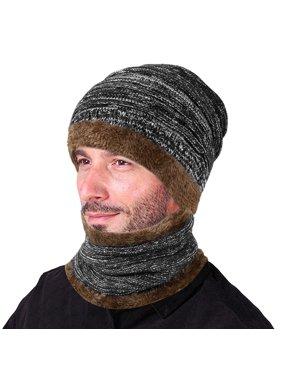 2Pcs Winter Beanie Hat Scarf Set Warm Knit Hat Thick Knit Skull Cap for Men Women