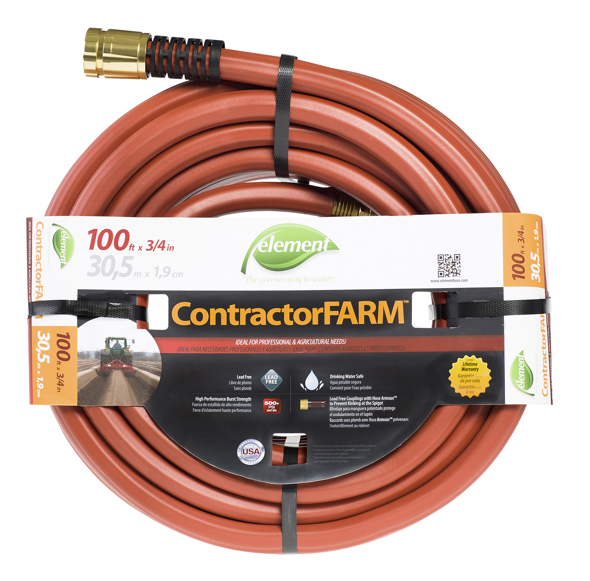Swan Element Contractor Farm Hose, 3/4 In. X 100 Ft. Brick