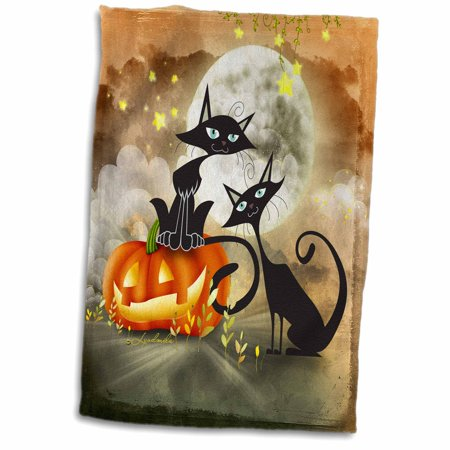 3dRose Halloween two cats is telling a scary story each other - Towel, 15 by 22-inch - Halloween Cat Scary