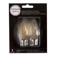 Pack of 2 Cleveland Vintage Lighting Edison Style E17 Base Candlestick Bulbs - 7 Watts