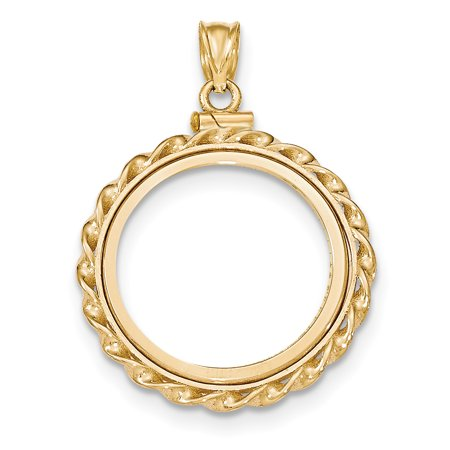 14k Yellow Gold Twisted Wire Screw Top 1/4ae Bezel Necklace Pendant Charm Coin Holders/bezel Prong American Eagle Fine Jewelry For Women Gift (Gold Screw Italian)