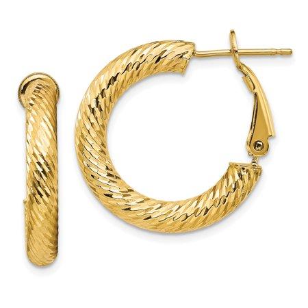 Primal Gold 14 Karat Yellow Gold 4x15mm Diamond-cut Round Omega Back Hoop Earrings