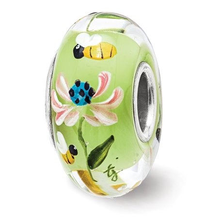 Solid 925 Sterling Silver Reflections Hand Painted Bumble Bee Love Fenton Glass Bead (15mm x - Painted 15mm Miniature