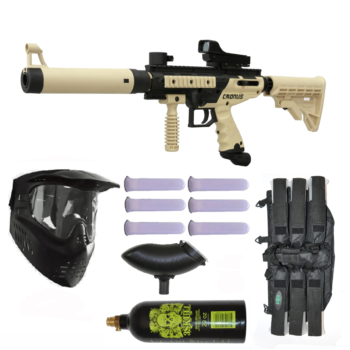 Click here to buy Tippmann Cronus Tactical Paintball Gun 3Skull Deluxe Set.