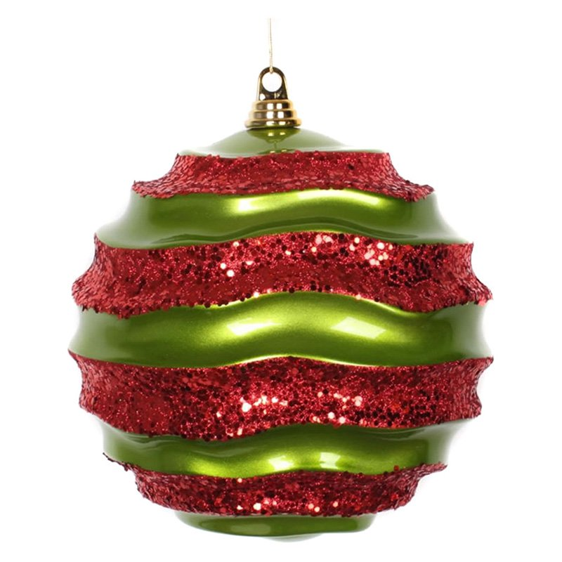 "Vickerman 33850 - 10"" Lime / Red Candy Glitter Wave Ball Christmas Tree Ornament (M132374)"