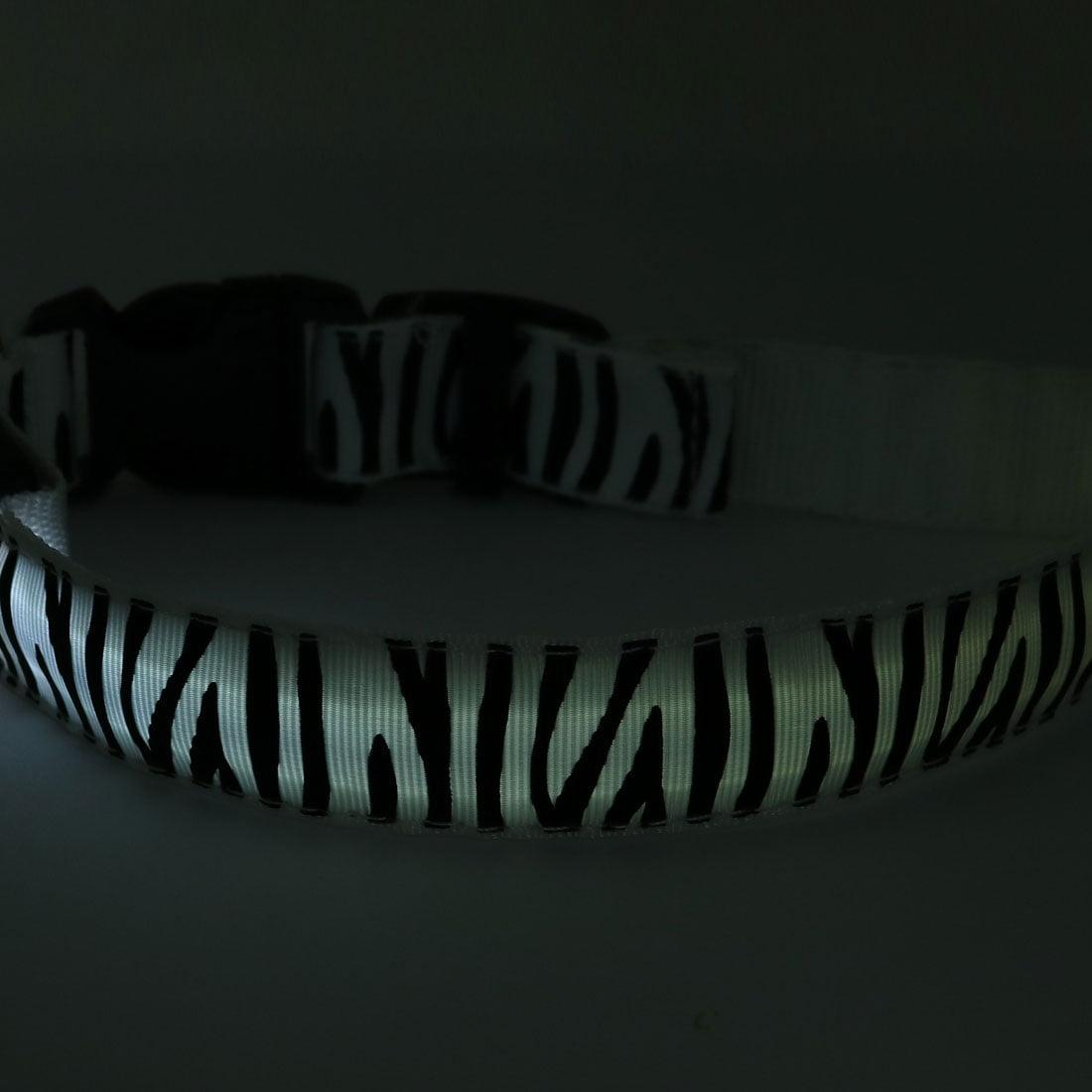 Unique Bargains White LED Light Flashing Safety Nylon Zebra-Stripe S Size Pet Dog Neck Collar - image 4 de 5