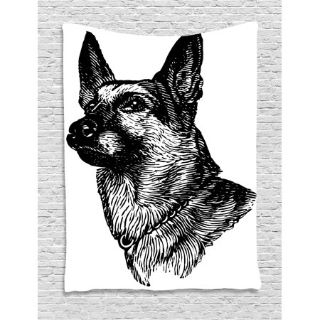 Animal Tapestry  Pencil Sketchy Image Of Dogs Human Best Friend Guardian Police Animal Artwork  Wall Hanging For Bedroom Living Room Dorm Decor  60W X 80L Inches  Black And White  By Ambesonne