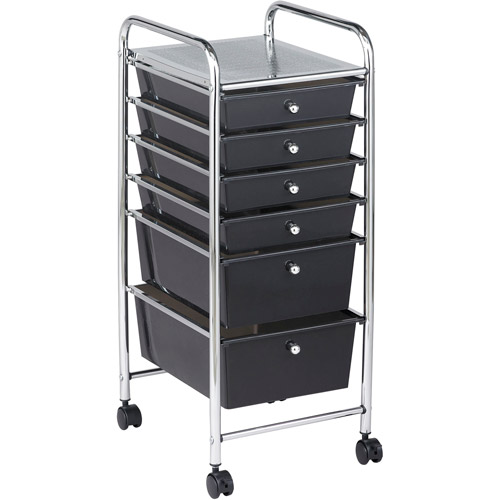6-Drawer Mobile Organizer, Smoke