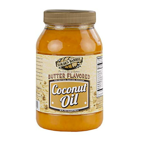 Golden Barrel Butter Flavored Coconut Oil, For Better Tasting Popcorn- 32 fl. oz. Jar (1