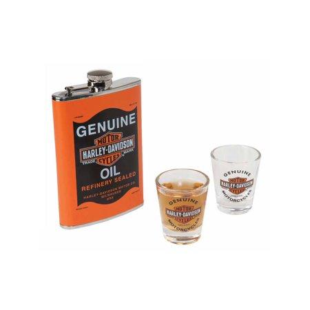 Glassware Flask - Harley-Davidson Genuine Oil Can Hip Flask & Shot Glass Gift Set, HDL-18557, Harley Davidson