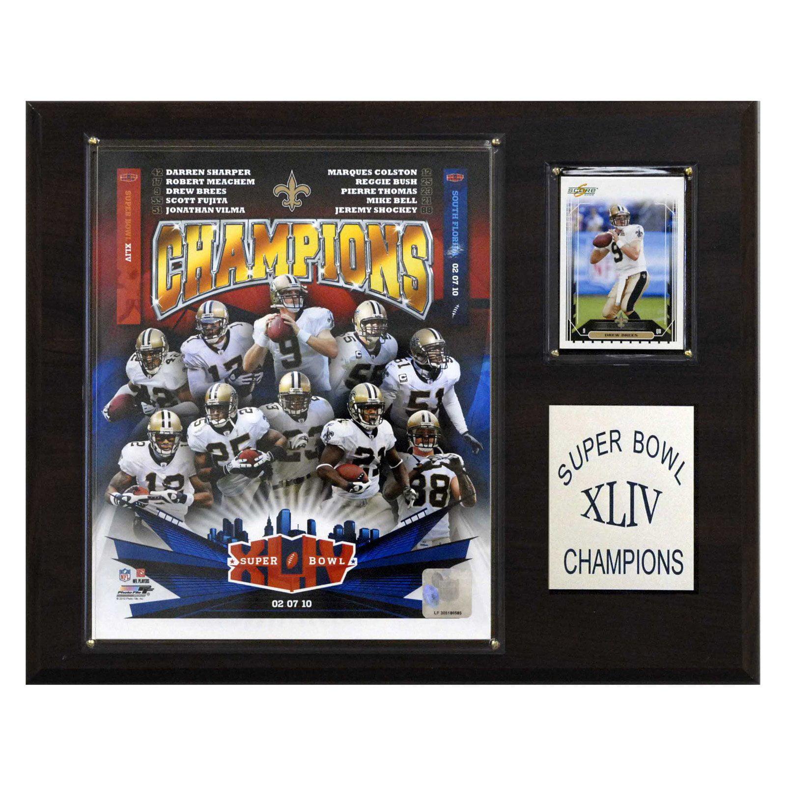 C&I Collectables NFL 12x15 New Orleans Saints Super Bowl XLIV Champions Plaque