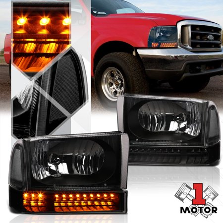 99 F350 Headlights >> Black Housing Headlight Clear Corner Led Signal For 99 04 F250 F350 Super Duty 00 01 02 03