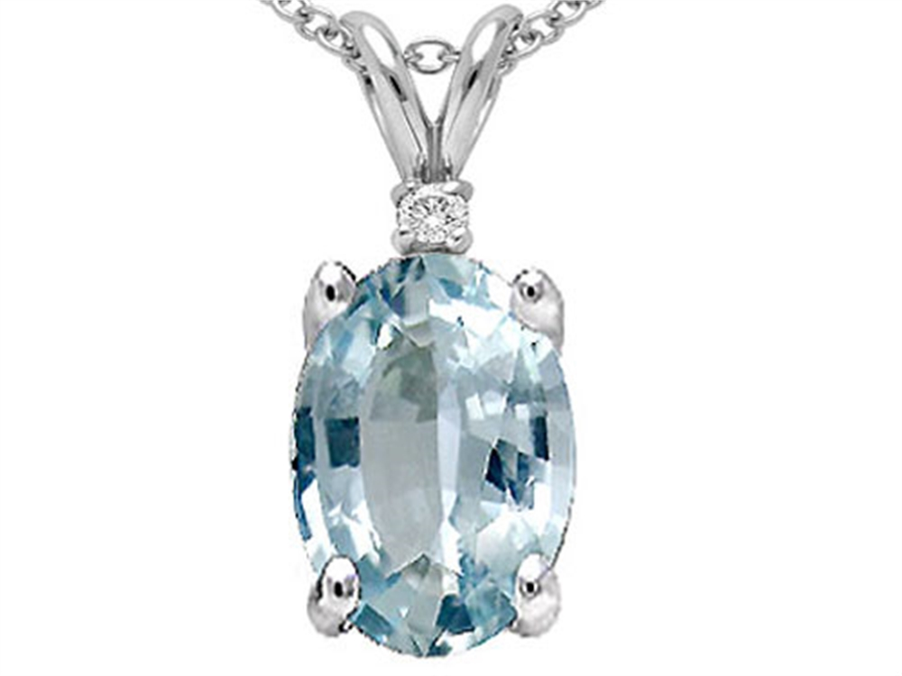 Tommaso Design Oval Genuine Aquamarine Pendant Necklace by