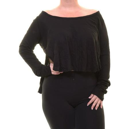 Chelsea Sky Women's High-Low Long Sleeve Black Top Size