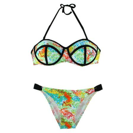 Summer Tankini Swimsuit Two-piece Bathing Suit Bikini Set (Colorful Swimsuits)