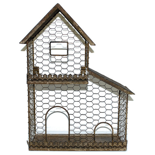 Blossom Bucket Bird House Steel Terrarium (Set of 2)