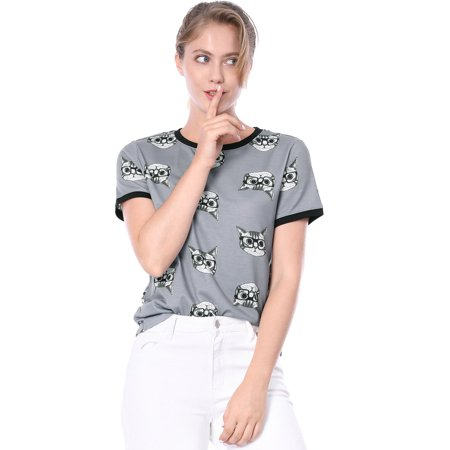 Unique Bargains Women's Cartoon Cat Tee Shirt Gray (Size M / 10) - Adult Cartoon Cat