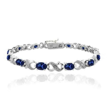 7.2ct Created Blue Sapphire & Diamond Accent Infinity Bracelet Blue Sapphire Topaz Bracelet