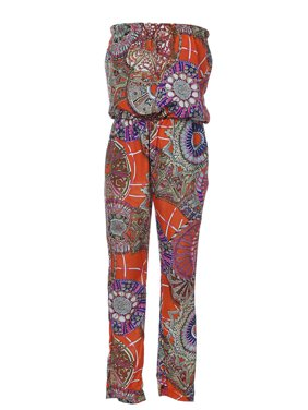 Casual Womens Boho Overalls Multicoloured Wheel Design Strapless Pants Jumpersuit Romper
