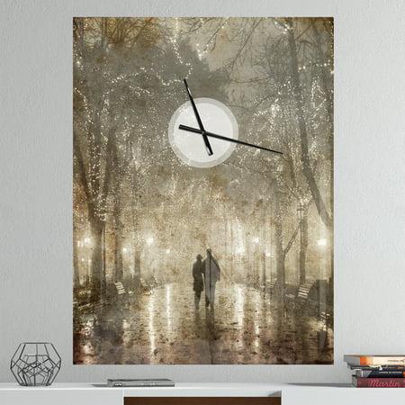 DesignArt Couple Walking in Night Lights Large Wall Clock - image 1 de 2