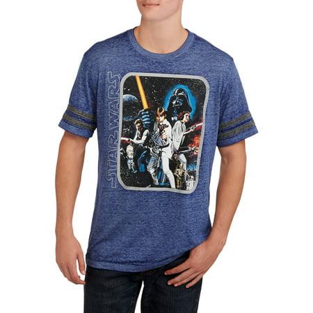 Star Wars Sleeve Stripe Mens Group Shot Graphic Tee