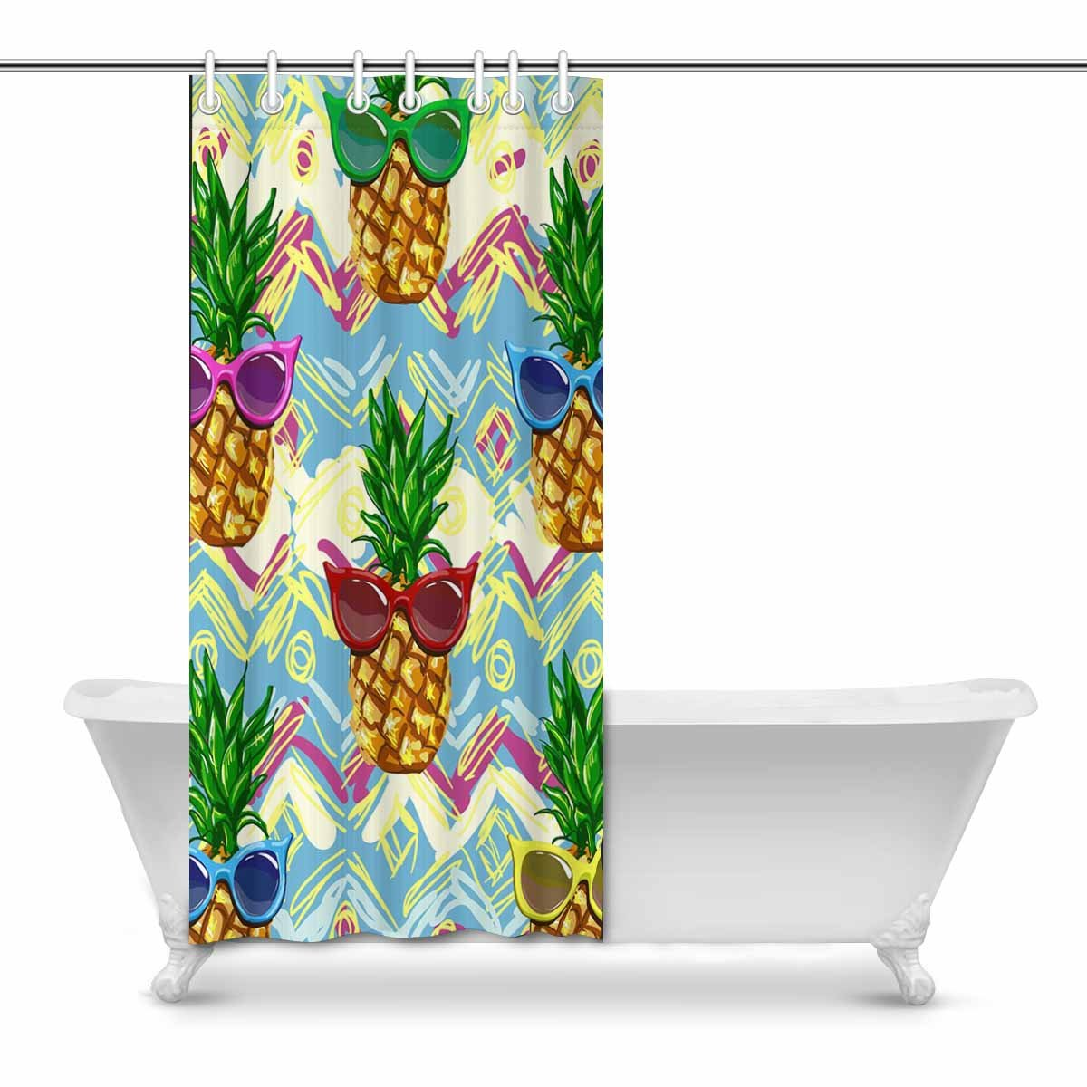 POP Pineapple Bathroom Decor Shower Curtain Set 9x9 inch