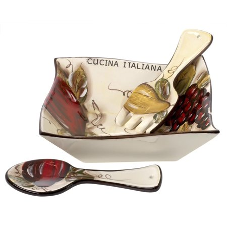 Original Cucina Italiana Ceramic Serving Bowl Salad Bowl with Servers 10 Inch Soft